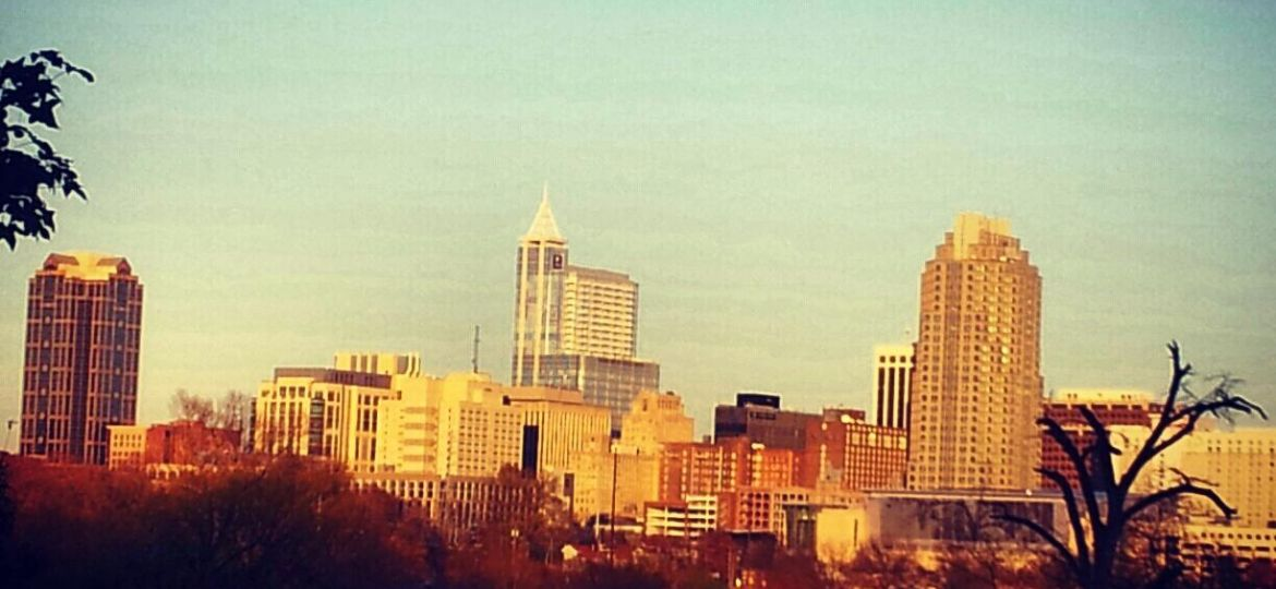 Wideshot of Downtown Raleigh with a photo filter.