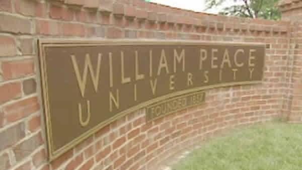 William Peace University Sign located outside the campus.