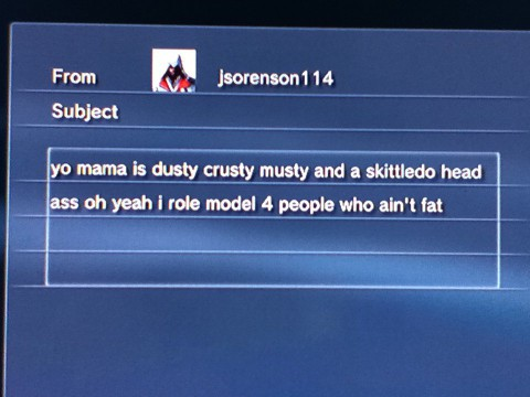 Screenshot of someone messaging trash talk to another player