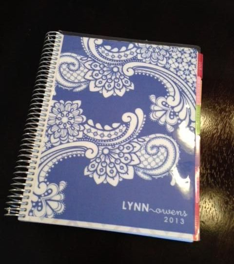 Planner with abstract illustrations made by Erin Condren