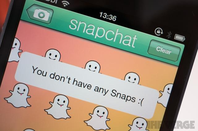 """The snapchat app with a message saying """"You don't have any snaps :("""""""