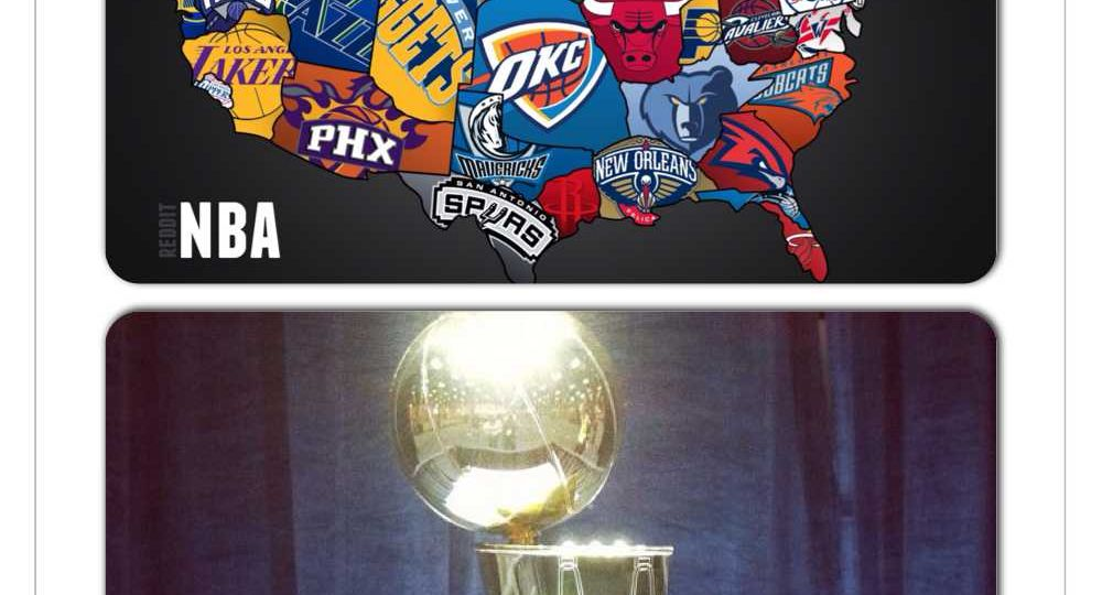 two pictures in one, bottom picture is of a golden shiny basketball trophy in front of a blue background. Top picture is of the US map, each state is outlined by the logo of their professional basketball team.