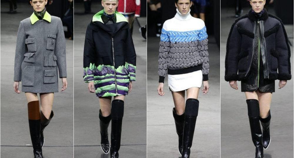 Women modeling the latest Mercedes-Benz sponsored fashion.
