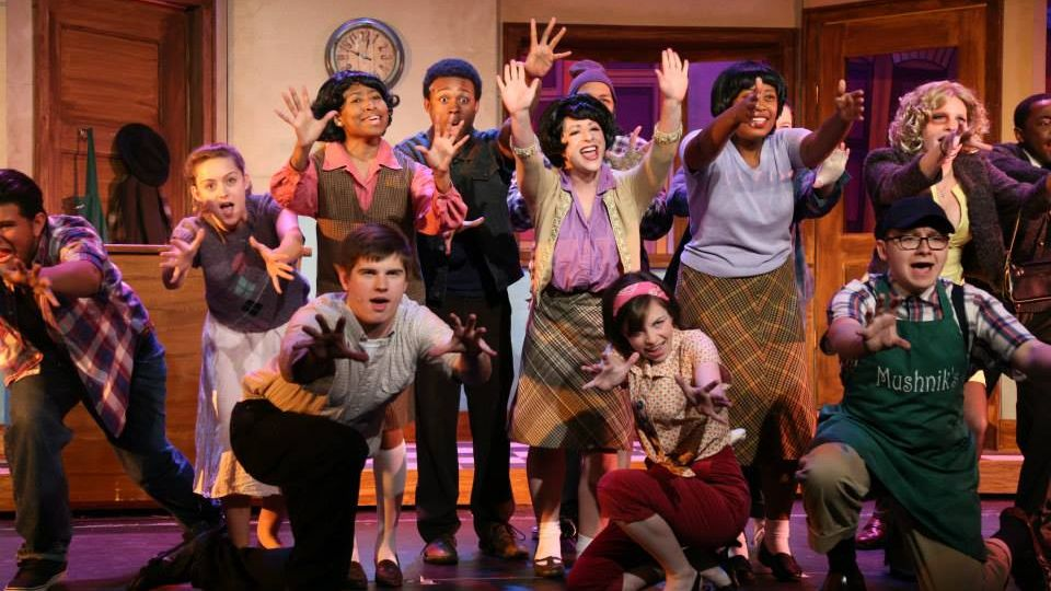 """Group picture of the cast of the """"Little Shop of Horrors"""" play."""