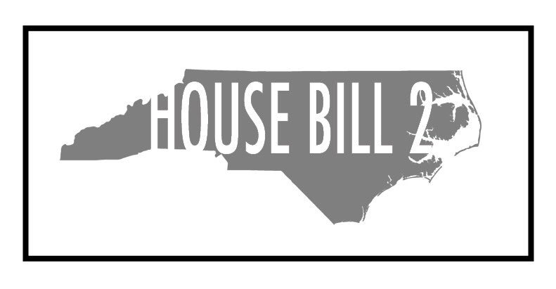 """Gray outline of the state of North Carolina with white text overlayed with the text """"House Bill 2"""""""