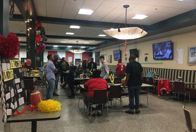 Super Bowl party in Belk dining hall