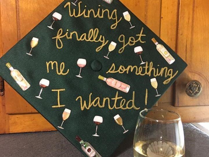 A wine-oriented graduation cap