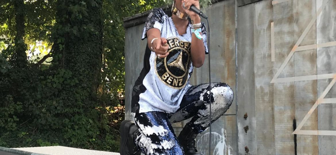Hip Hop artist performs on stage at HOPSCOTCH
