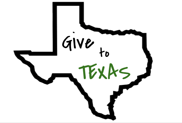 """""""Give to Texas"""" inside of an outline of the state of Texas"""