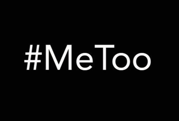 "White text reading ""#MeToo"" on black background"