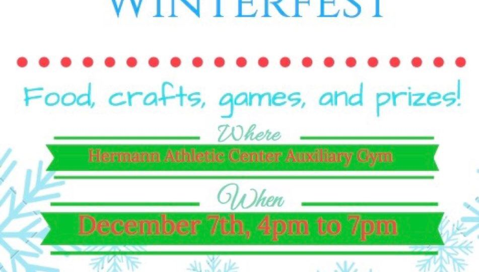 Flyer that says Winterfest and date and time decorated with snowflakes.