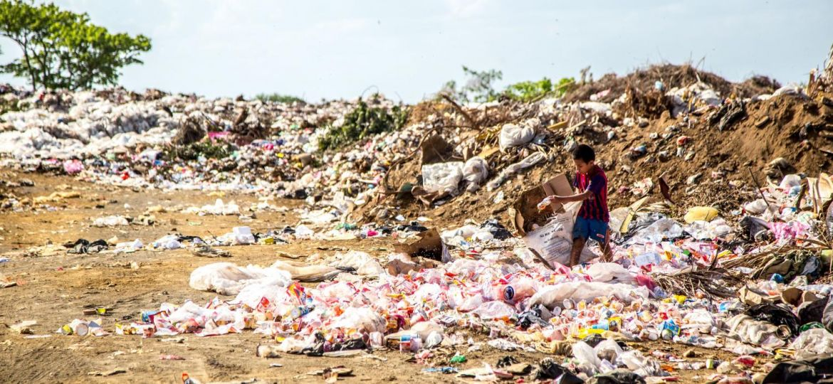 Plastic and waste surrounding the land
