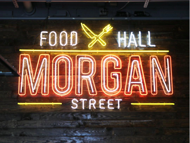 Words in yellow and red that say Food Hall Morgan Street