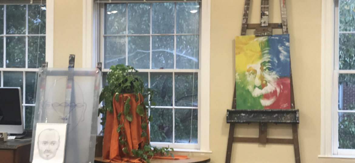 Paintings in an art classroom