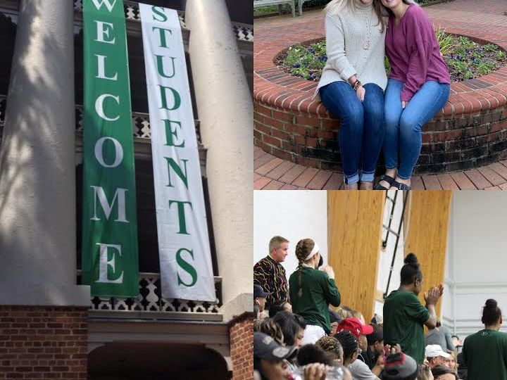 Green and white welcome students banner, two blonde girls sitting and a group of students at William Peace University in a photo collage.