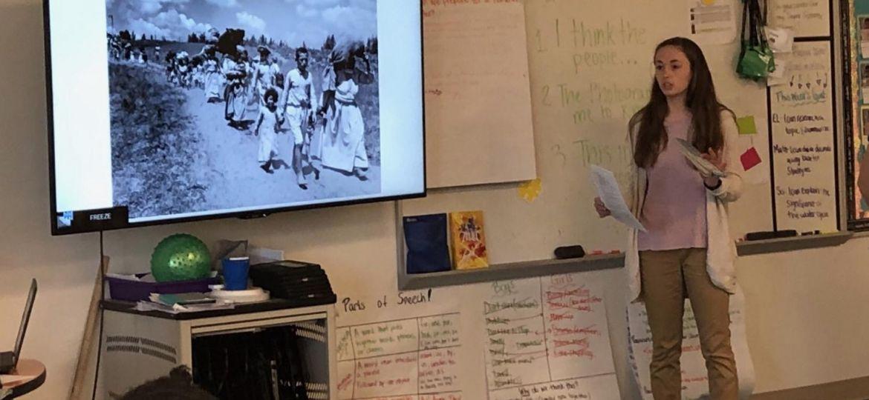 WPU seniors teaching at an Elementary School for their internship.